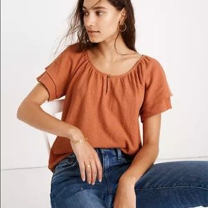 Madewell Texture &Thread Tiered Sleeve Top Popover